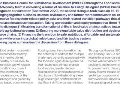 Science to policy dialogue on production & equity – Summary outcome paper for discussion